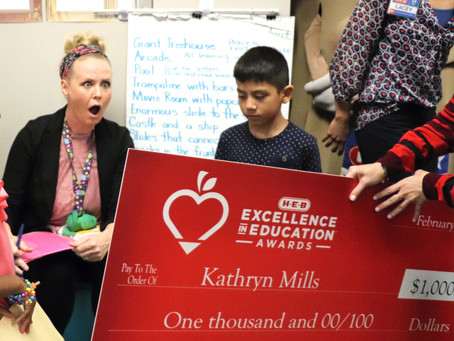 Katy ISD Teacher Surprised by Special Award from H-E-B