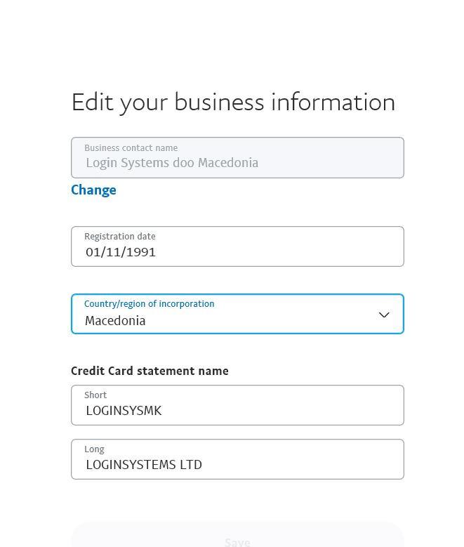 Бизнис информација на https://www.paypal.com/businessprofile/settings/info/