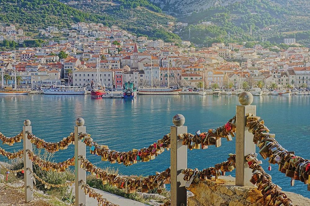 View of Makarska across the St Peter's lovelocks in Croatia