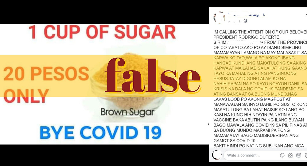 Screenshot of Facebook post claiming sugar can cure COVID-19