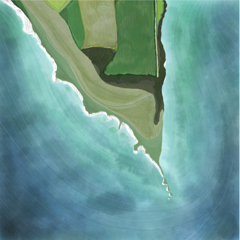 A digital illustration of Old Harry Rocks in Dorset, taken from an aerial perspective