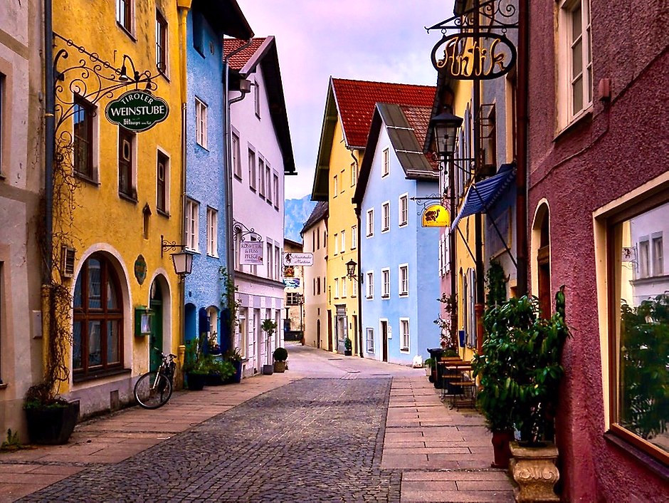 beautiful street in Fussen Germany