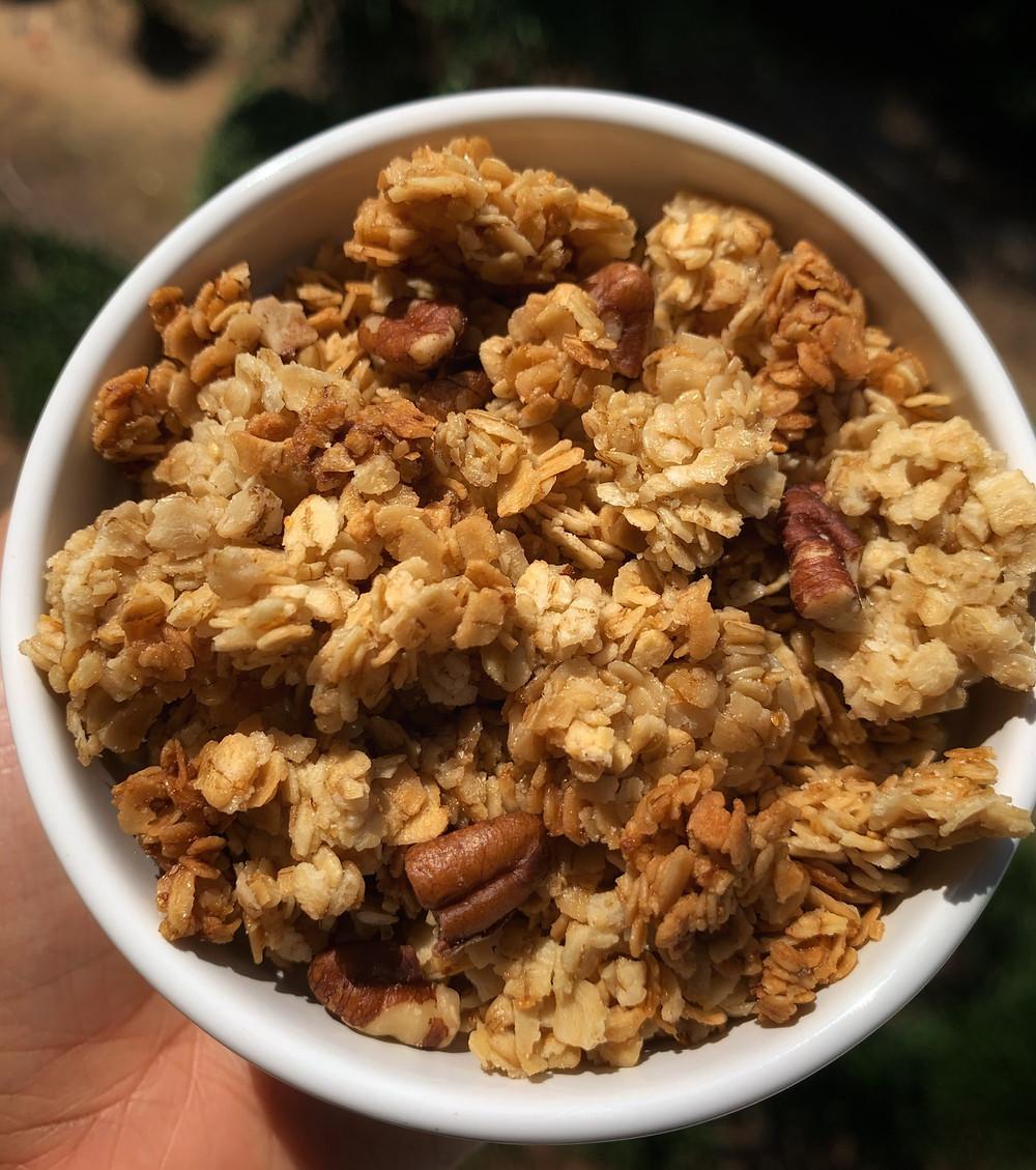 overhead shot of chunky maple-vanilla homemade granola