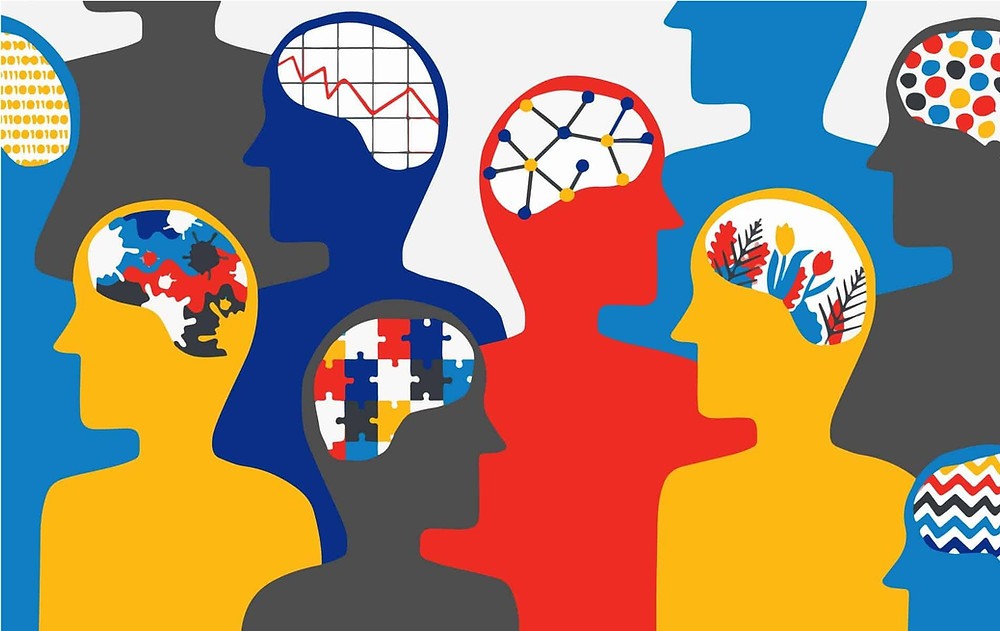 Cartoon image of different people with neurodiversity