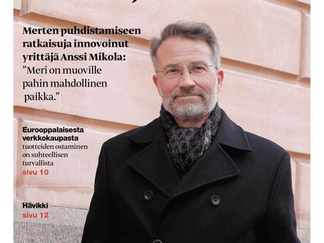 Sarjayrittäjä Anssi Mikola kehittää kestäviä ratkaisuja merten muoviongelmaan