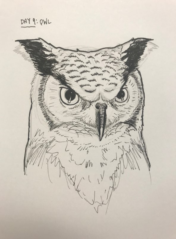 Inkotober Owl is watching you draw!