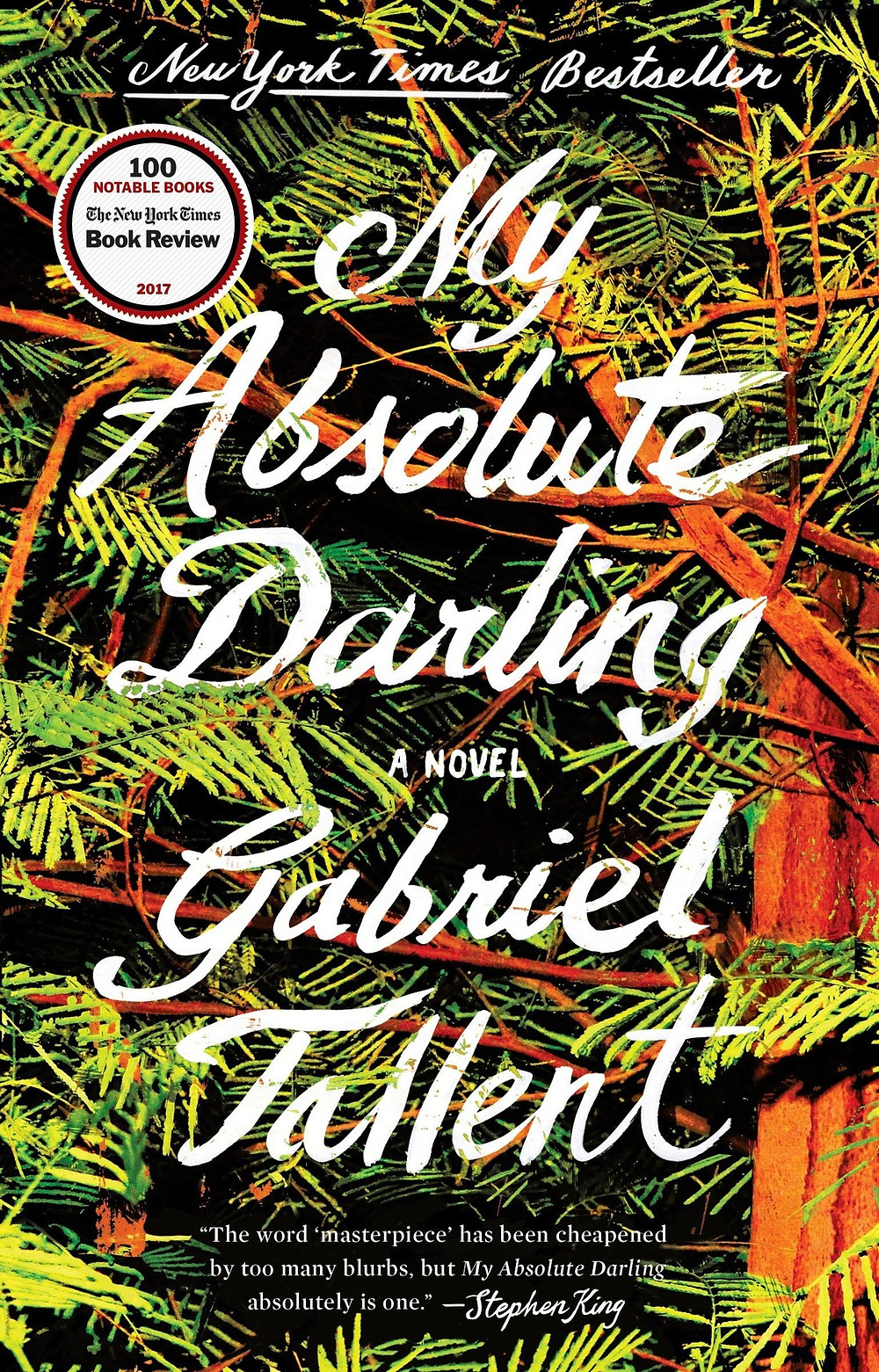 My Absolute Darling by Gabriel Tallent : the book slut bookre views quarentine reads books for isolation jungle book cover, leaves palm trees green