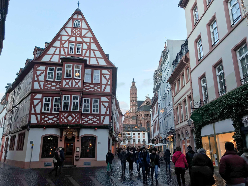 Mainz old town during Christmas market in Germany
