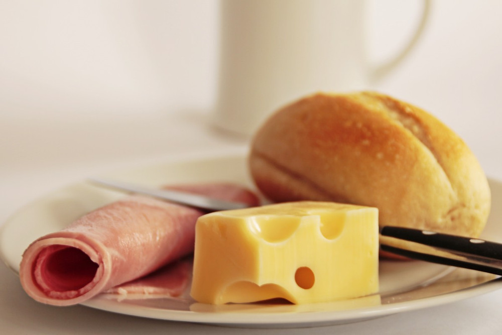 Ha, cheese and a breakfast roll.