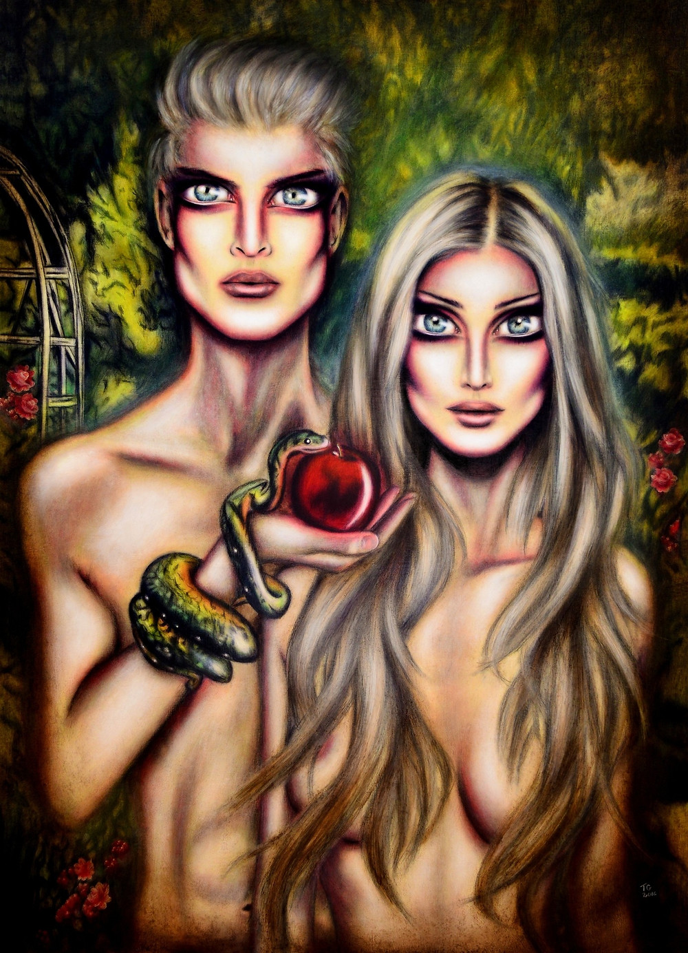 painting of blond adam and eve with a snake and an apple in the garden of eden by tiago azevedo a lowbrow pop surrealist