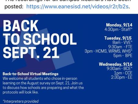 Eanes ISD Back To School September 21