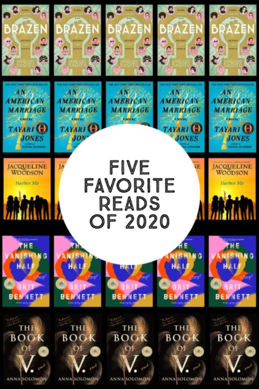 Collage Image of Book Covers with words Five Favorite Reads of 2020