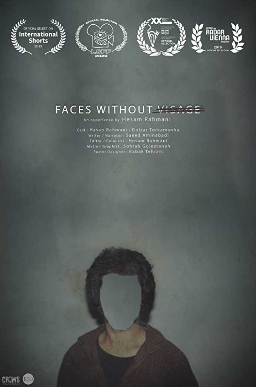 Poster of the film depicting a figure against a dark grey background. Their face is cutout just showing the grey background, a visual representation of dementia.