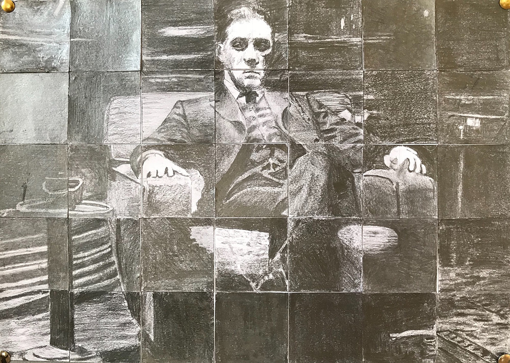 Seated figure pencil drawing, Al Pacino, monochrome drawing, seated man