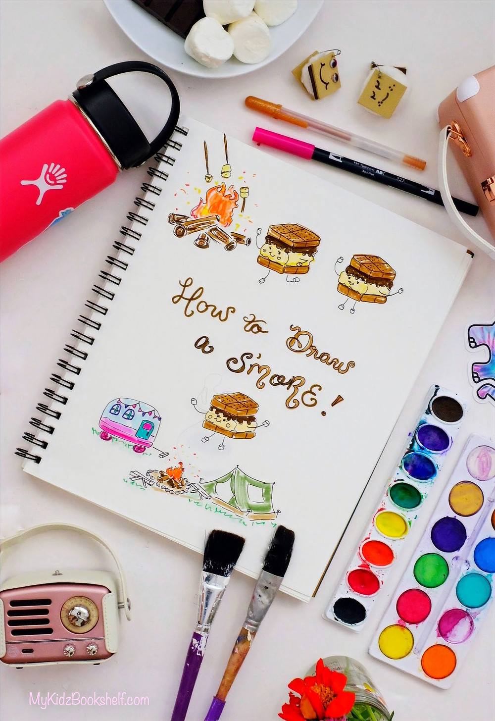 How to Draw S'more diy tutorial with art supplies, Muzen radio and Hydroflask