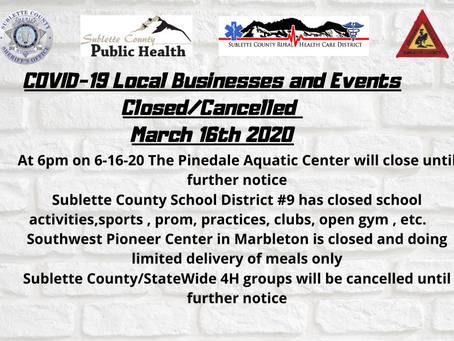 Local Businesses & Events Closed/Cancelled