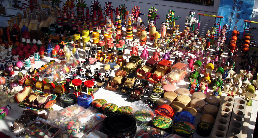 Display of toys on a table hand crafted