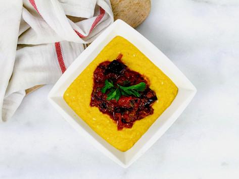 Sweet corn Polenta with Greek Style Aubergine (Yotam Ottolenghi)