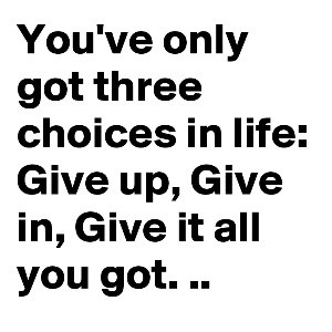 In life, you have 3 choices. Give up, give in, or give it your all.