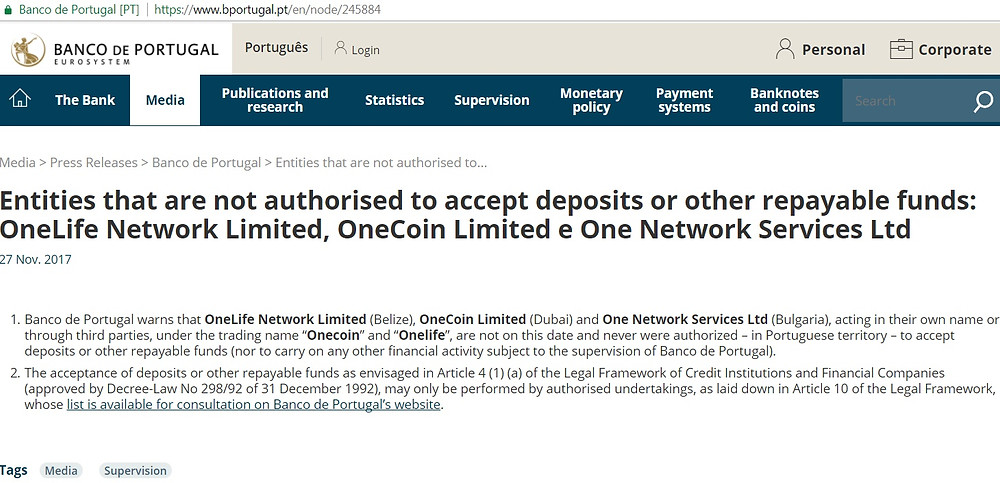 OneLife OneCoin WARNING