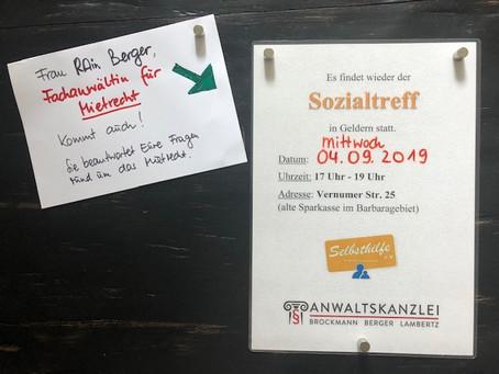 Der nächste Sozialtreff findet am Mittwoch, 04.09.2019 (17-19 Uhr), in Geldern statt.