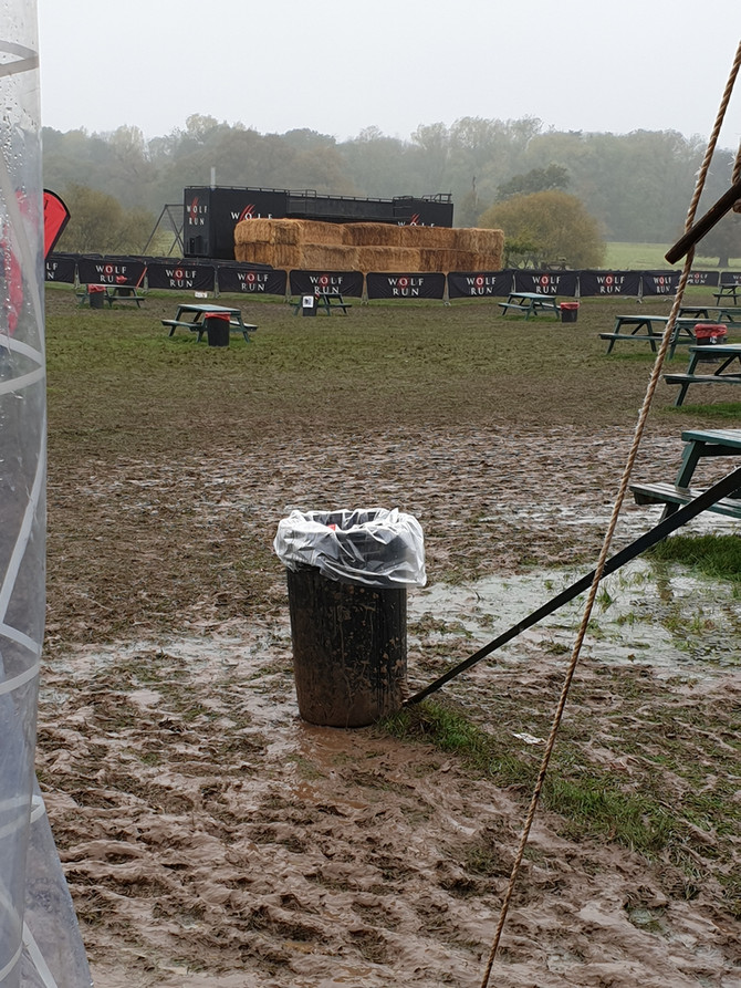 Muddy, wet and shopping