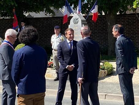 Visite du Président Macron - Dizy-le-Gros - le 17 mai 2020