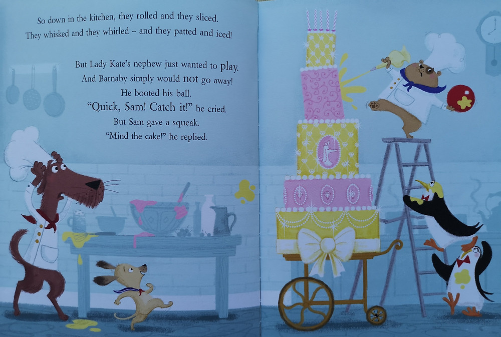 Image from shifty mcgifty and slippery sam the diamond chase a dog is decorating a large birthday cake in a kitchen he has a ball in his hand that he just caught a small dog runs to get his ball a large dog with a baker hat runs towards the cake two penguin waiters hold the ladder and look worried kids books early readers book review children's kids picture book recommended reading illustrated illustration preschool nursery preschool rhyming action comedy funny crime mystery retro diamond theft caper detective dogs penguins baking bakers lady kate woofington scottie dog tracey corderoy steven lenton nosy crow