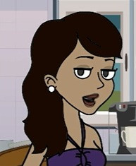 a cartoon of a woman with long brown hair and purple top