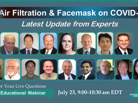 Air Filtration & Facemask Update on COVID-19, July 23