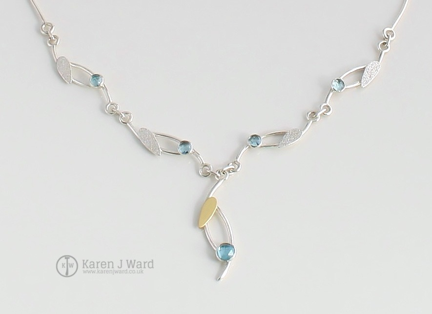SWISS BLUE TOPAZ NECKLACE STERLING SILVER 18K GOLD AND TOPAZ PERFECT FOR THAT SUMMER WEDDING