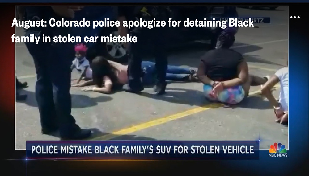 Black family handcuffed on ground after their vehicle was mistaken as stolen vehicle.