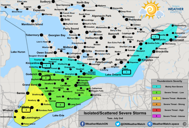 Thunderstorm Forecast, for Southern Ontario. Issued July 2nd, 2019.