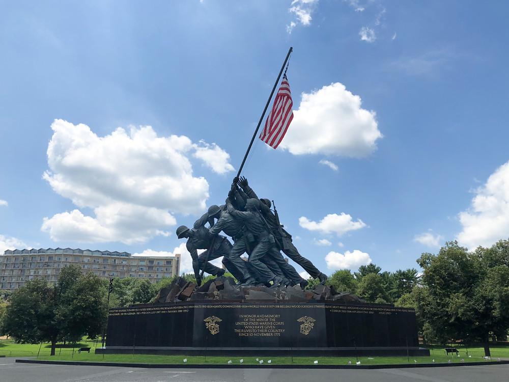 USMC memorial at Arlington near Washington, DC. Celebrating USMC birthday in USA