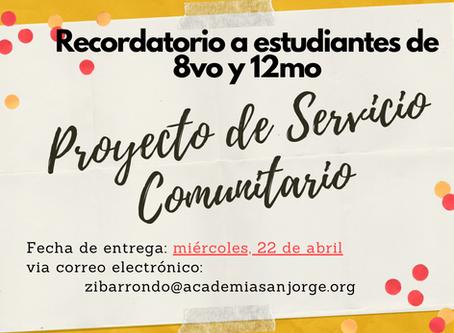 Proyecto de Servicio Comunitario (8vo y 12mo)