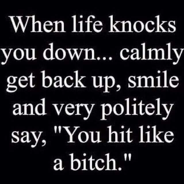 When Life Knocks You Down Calmly get back up hit like a bitch
