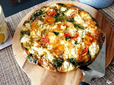 Spinach, mushroom and feta cheese fritata