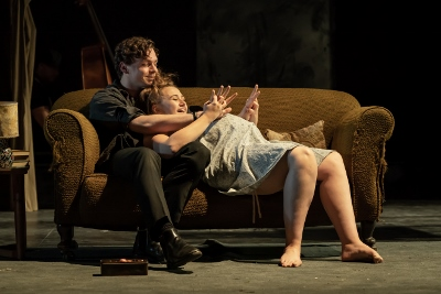 Stuart Thompson (Geoffrey) and Gemma Dobson (Jo) in the National Theatre's A Taste of Honey credit Marc Brenner