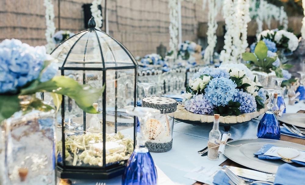 Blaue Hochzeitsdekoration