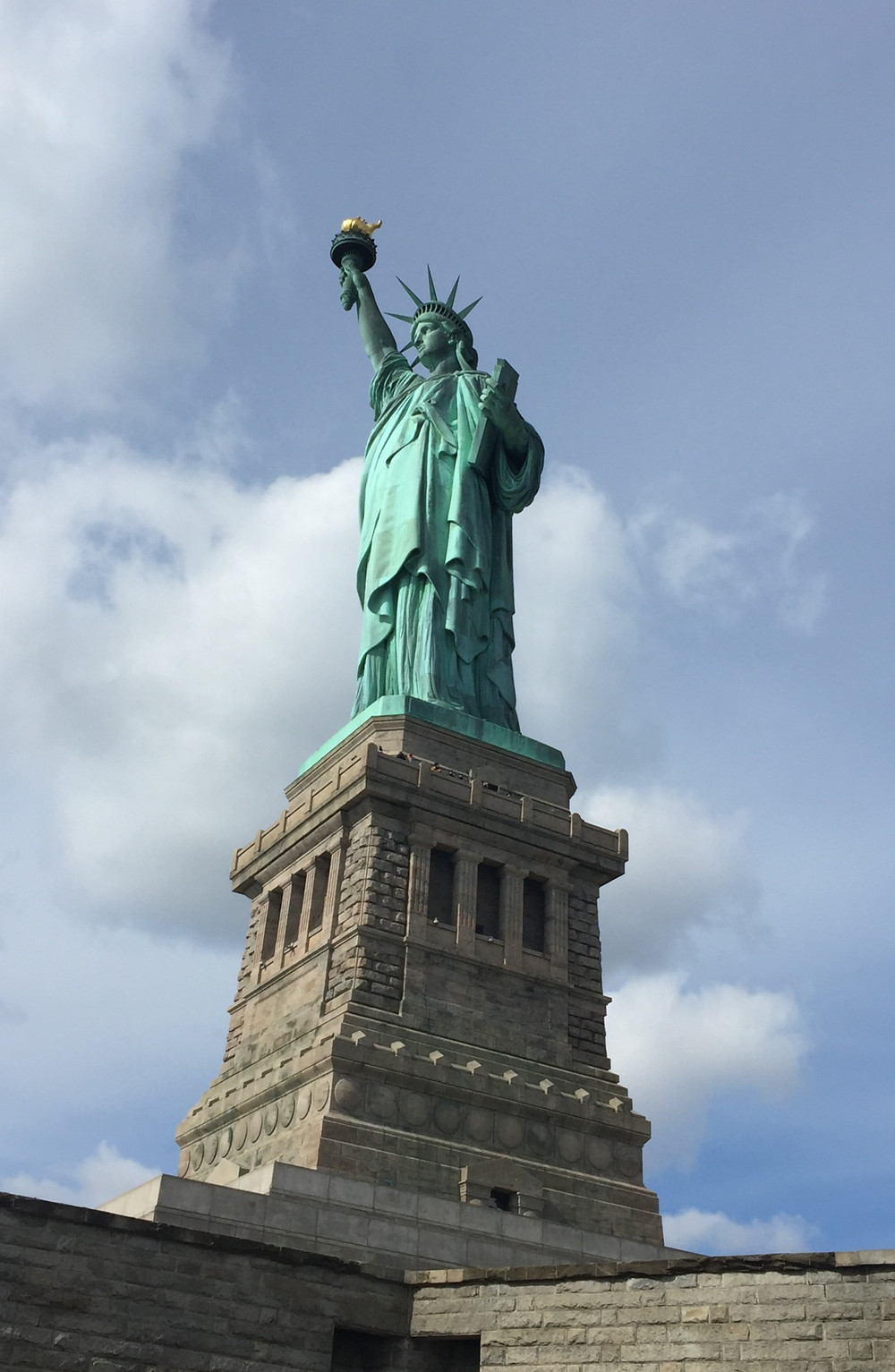 The iconic Statue of Liberty stands tall on Liberty Island.