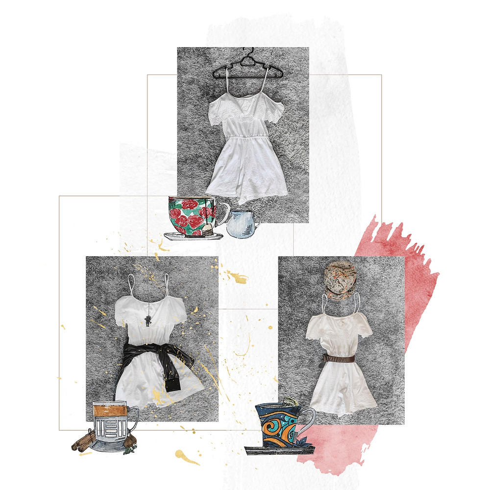 RollingbearTravels Blog / white lace Topshop romper styled in 3 ways, ink and watercolour teacup illustrations