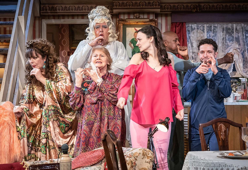 Josie Lawrence, Annette Badland, Tony Maudsley, Gemma Brodrick, Matt Henry and Nathan McMullen in Our Lady of Blundellsands at the Everyman, Liverpool. All pics: Marc Brenner