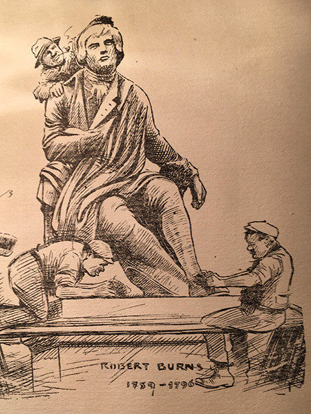 Drawing of the statue of Robert Burns in Albert Square, Dundee. It is situated just outside the Mc Manus Museum and Art Gallery.