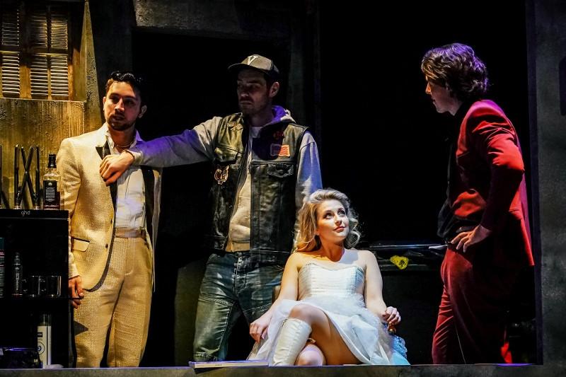 Jacobo Ochoa, Simon Grange, Alexandra oomens and Fabian Langguth in Clonter Opera's Don Giovanni. c Andrew Billington