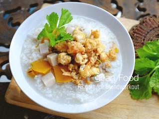 ข้าวต้มกุ้งสับ ฟักทอง และเผือก ( อาหารคลีน)