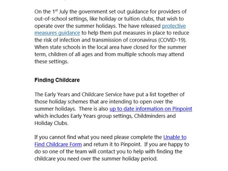 Summer Holiday Information For Parents