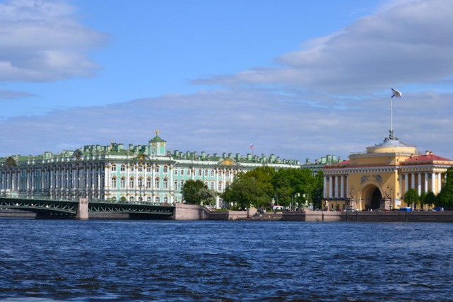 View of the Hermitage across the river in St Petersburg, Russia