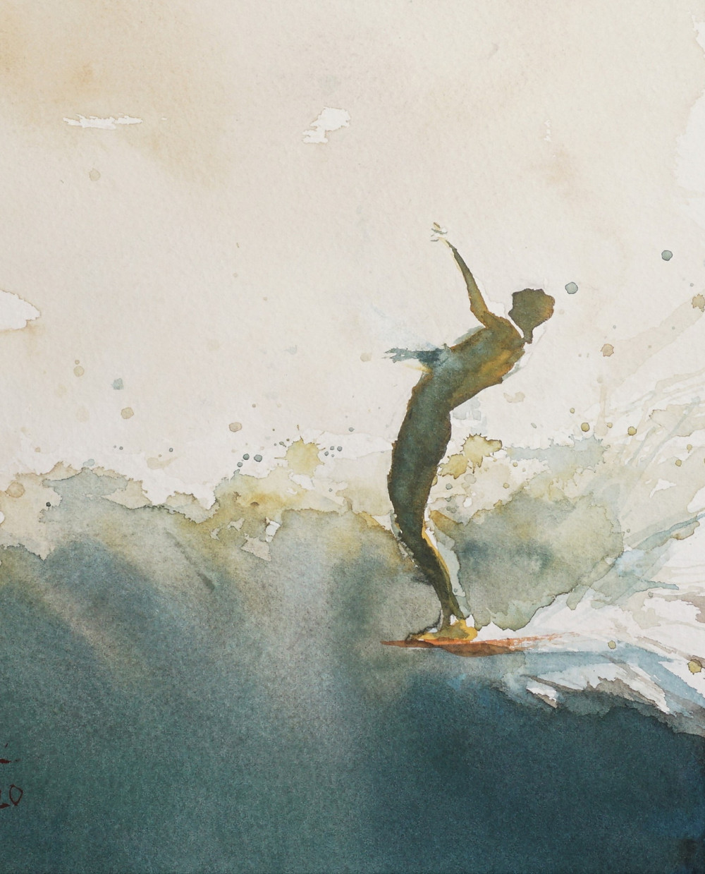 surf art; surf painting; watercolor painting; longboarding; surf culture; surf decoration; surf gift; aquarella; man surfing; cool surf art; is surfing an art?; why people like surfing