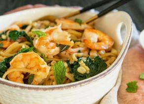 Shrimp Linguine with Herbs & Corn