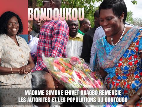 SIMONE EHIVET GBAGBO REMERCIE LES AUTORITÉS ET LES POPULATIONS DU GONTOUGO